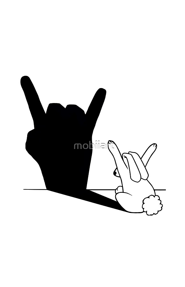 Rabbit Rock and Roll Hand Shadow by mobiiart