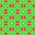 Pink Green and Yellow Abstract Print 01 by Ruth Moratz