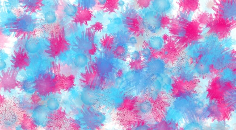 pink and blue paint splatters by graciekieffer