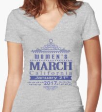 Million Women's March on CALIFORNIA State 2017 Redbubble T Shirts Women's Fitted V-Neck T-Shirt