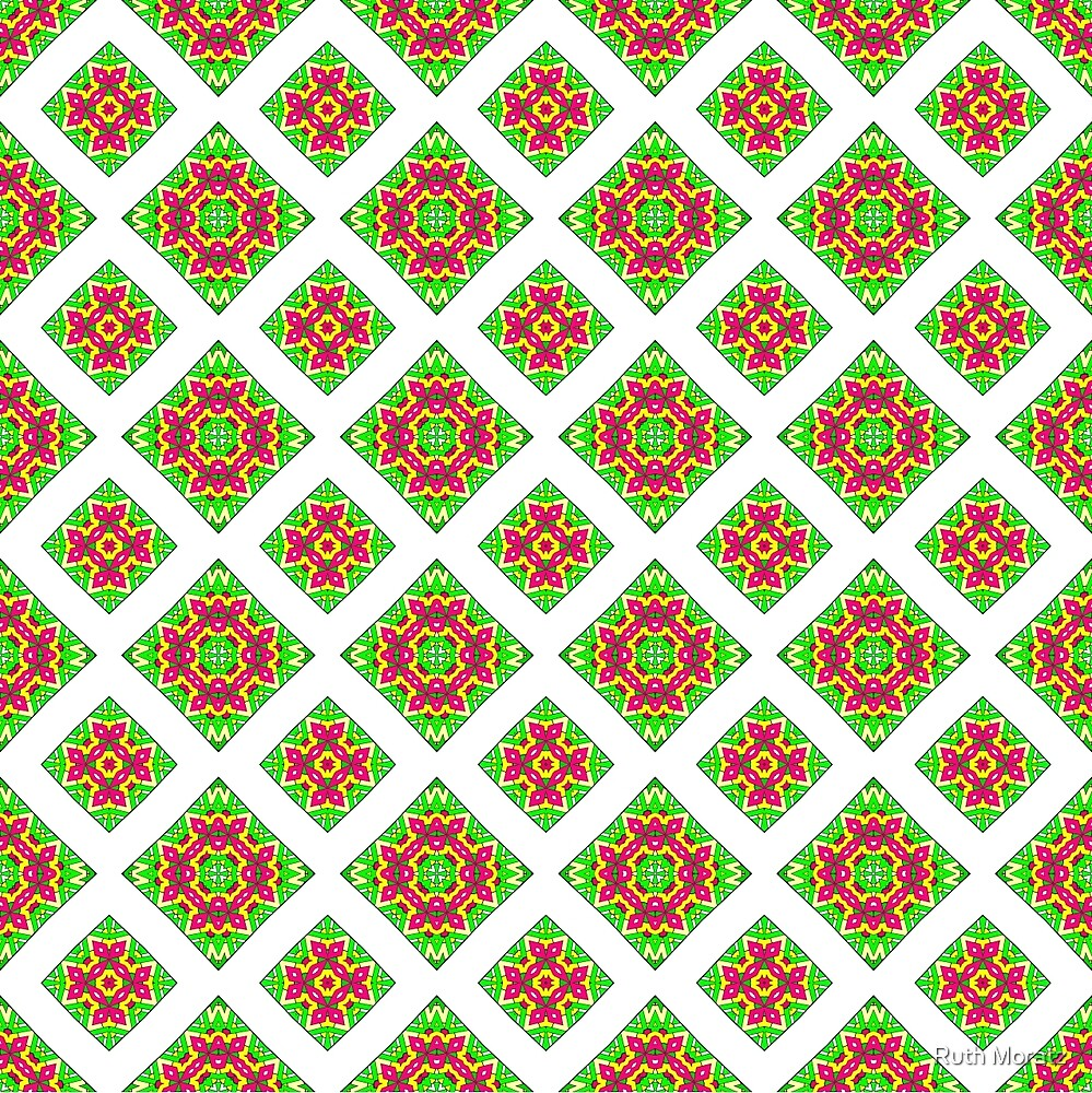 Pink Green and Yellow Abstract Print 07 by Ruth Moratz
