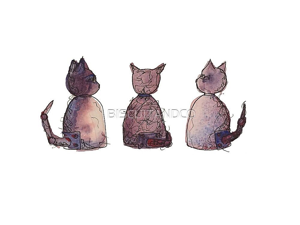 Watercolour Space Cats by BISCUITANDCO