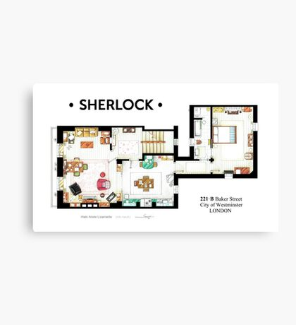 Floorplan of Sherlock Holmes apartment from BBCs Canvas Print