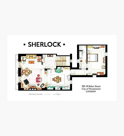 Floorplan of Sherlock Holmes apartment from BBCs Photographic Print
