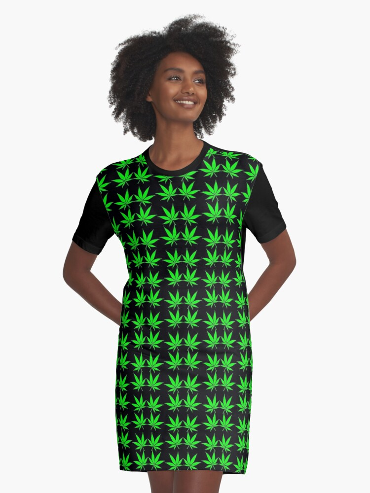 CANNABIS LEAF Graphic T-Shirt Dress Front