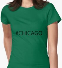 #Chicago Black Womens Fitted T-Shirt