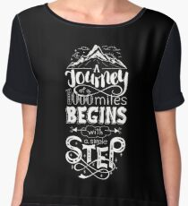 typographical, lettring quote journey, black and white Chiffon Top