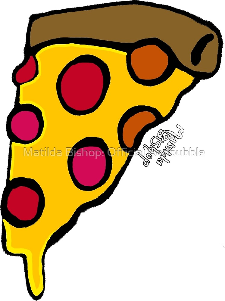 Cheesy Pizza Slice by Matilda Bishop Art: Official Redbubble