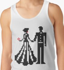 SILHOUETTES OF ELEGANT BRIDE AND GROOM CROSS-STITCH DESIGN Tank Top