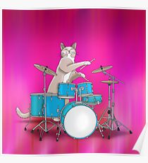 Cat Playing Drums - Pink Poster