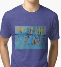 Blue Yellow Abstract Patterns Oil Artwork Painting Tri-blend T-Shirt