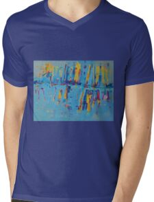 Blue Yellow Abstract Patterns Oil Artwork Painting Mens V-Neck T-Shirt