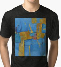 Abstract Artwork Blue Yellow Doodle Patterns Tri-blend T-Shirt