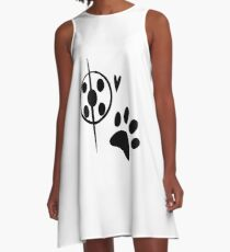 Miraculous Ladybug Chat Noir and Ladybug Signatures A-Line Dress