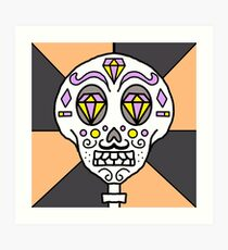 Sugar skull with mustache  Art Print