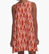 Peach Primrose Flowers Abstract A-Line Dress
