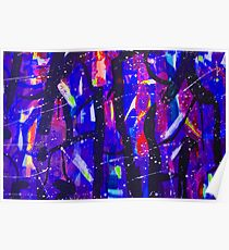 Abstract Shapes Geometric Pattern Purple Black Pink Doodle Boho Poster