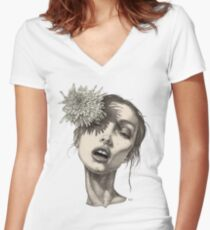 Katty with the big white flower Women's Fitted V-Neck T-Shirt