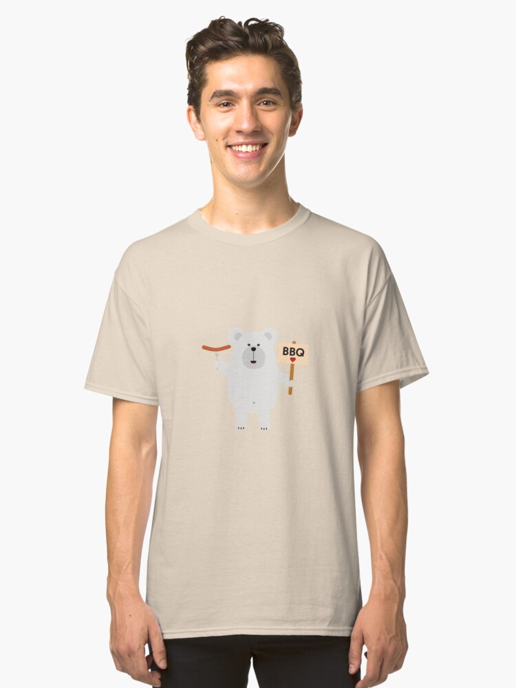 Ppolar BBQ Bear with sausage Classic T-Shirt Front