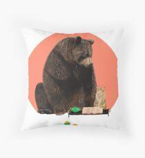 Bear and Cat - best friends Throw Pillow