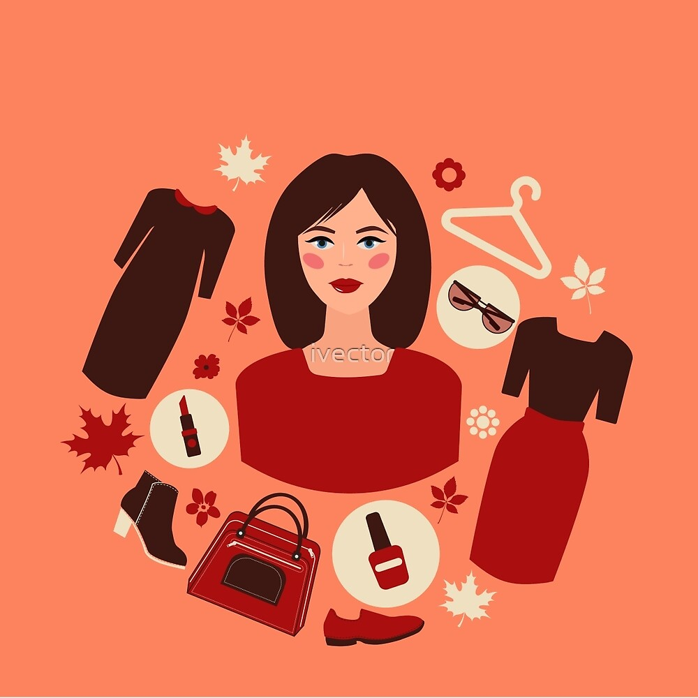 Shopping Autumn in Flat Design with Woman by ivector