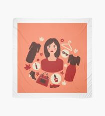 Shopping Autumn in Flat Design with Woman Scarf