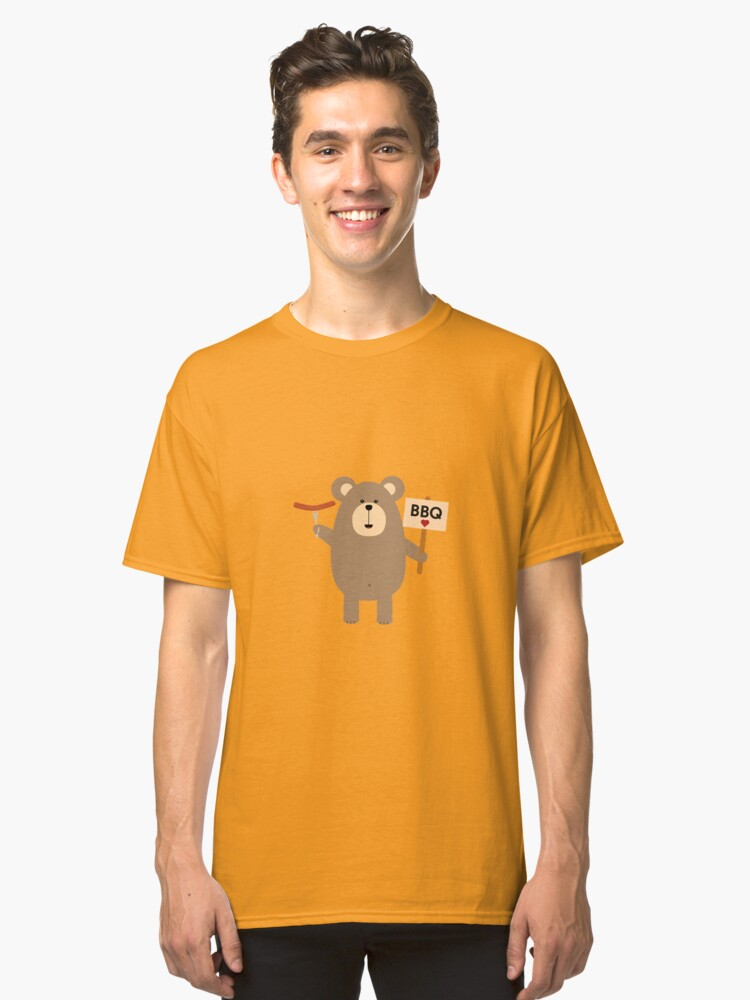 BBQ Brown Bear with Sausage Classic T-Shirt Front