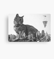 Cat-zilla Pizza Decoy Metal Print