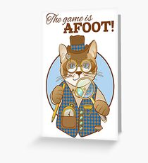 Steampunk Cat Detective Greeting Card