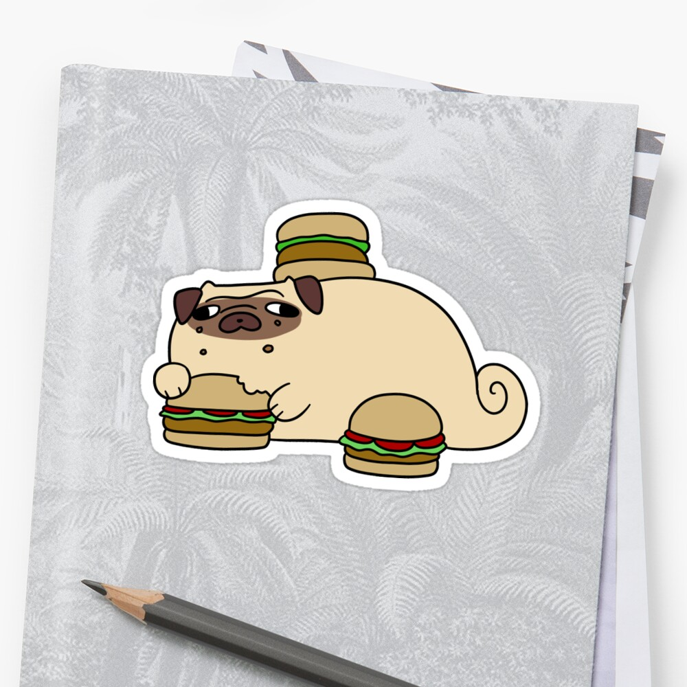 Pug Eating Burgers by SaradaBoru