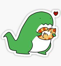 T-rex Loves Tabby Cat Sticker