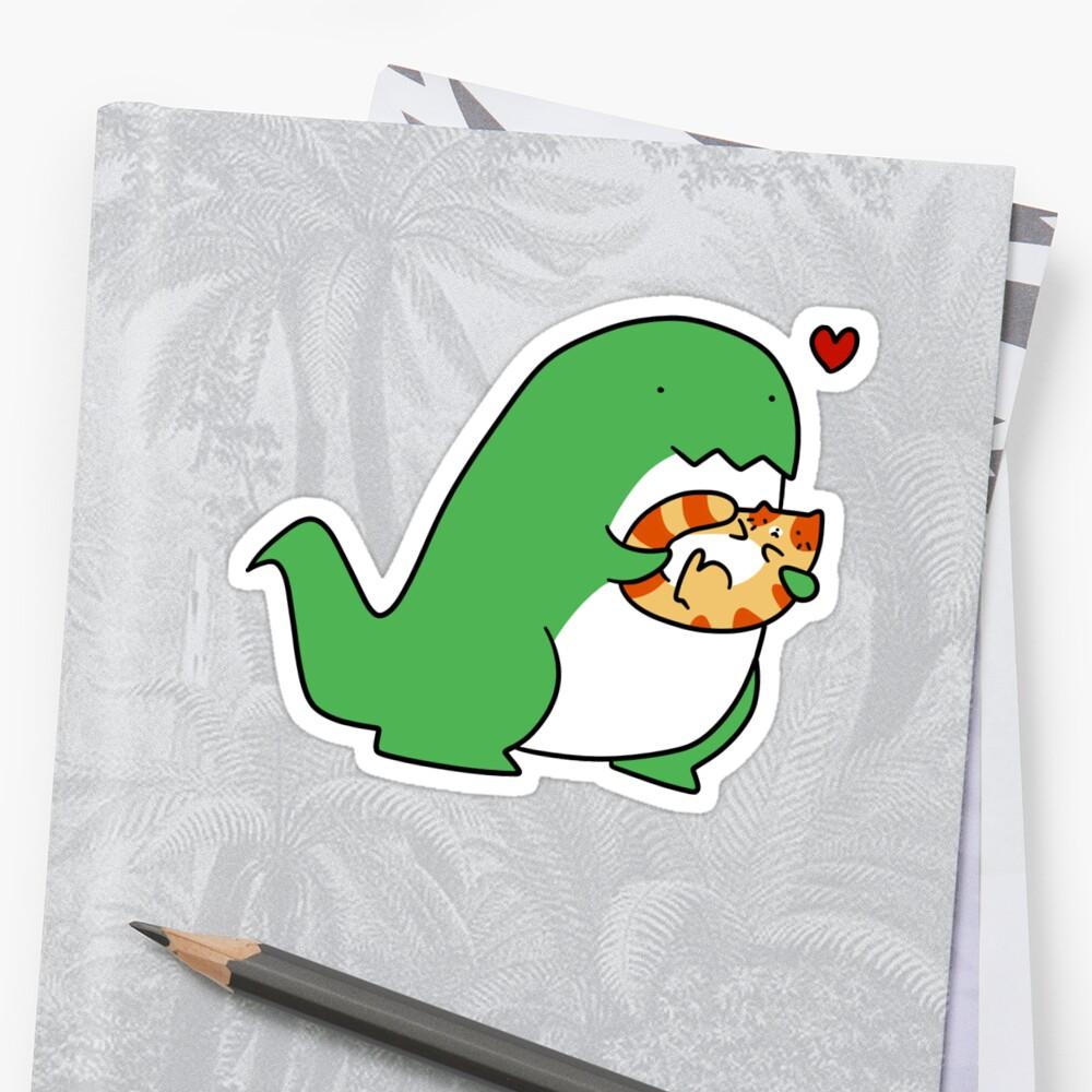 T-rex Loves Tabby Cat by SaradaBoru