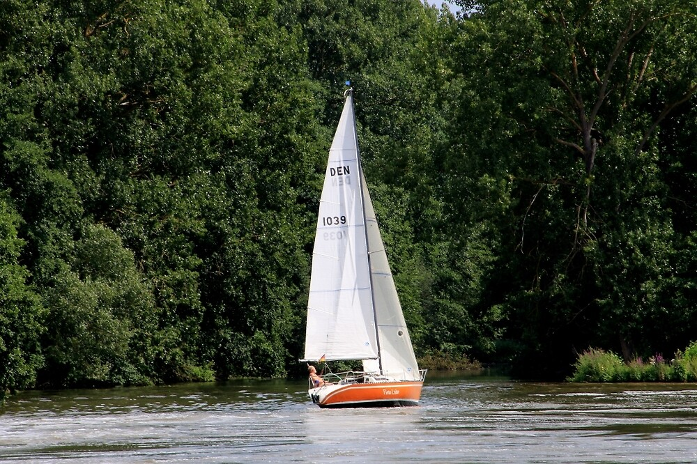 Sail boat, Rhine River, Germany by FranWest