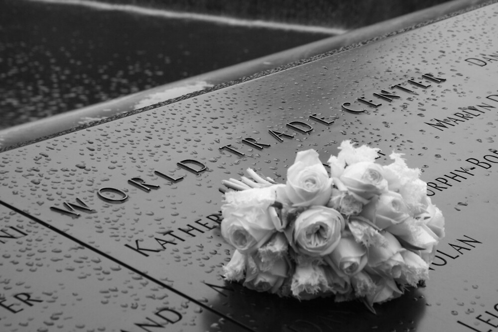 White Roses at the World Trade Center Memorial by HomeAndHut