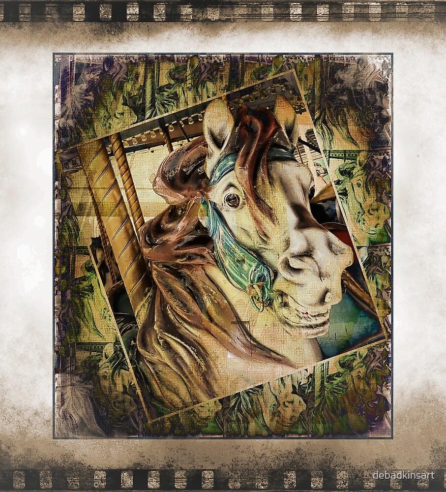 Vintage Carousel Horse by debadkinsart