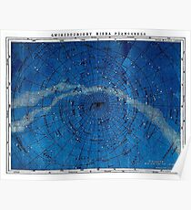 ASTRONOMY NORTHERN CONSTELLATIONS; Vintage Map Print Poster