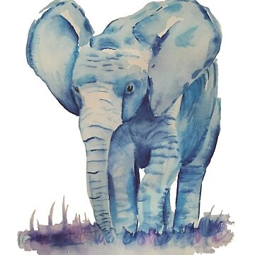Watercolour Elephant by BISCUITANDCO