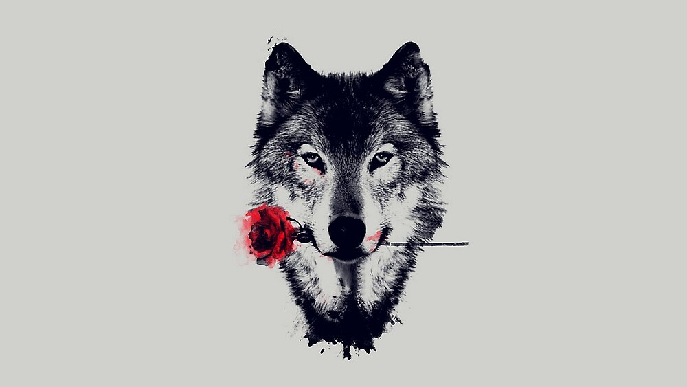 Wolf With Rose by coyotegeo