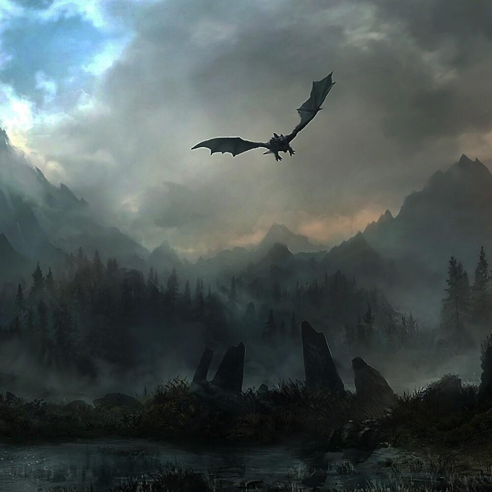 Skyrim - Landscape - Dragon by CyNickal