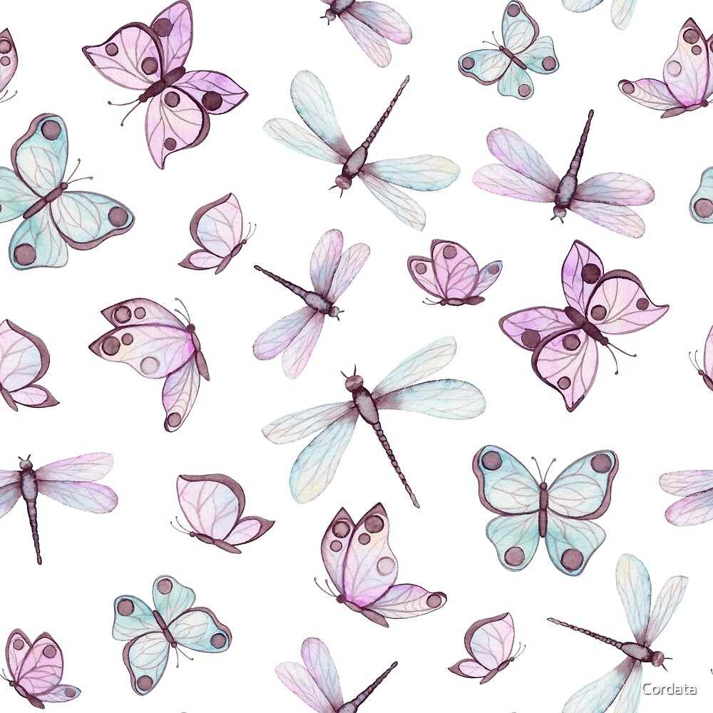 Watercolor Gentle Butterflies and Dragonflies by Cordata