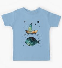 Watercolor Starry Sky, Fish and Sail Boat Kids Clothes