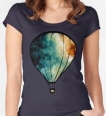 Watercolor Stars, Galaxy and Air Balloons Women's Fitted Scoop T-Shirt