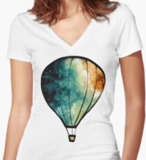 Watercolor Stars, Galaxy and Air Balloons Women's Fitted V-Neck T-Shirt