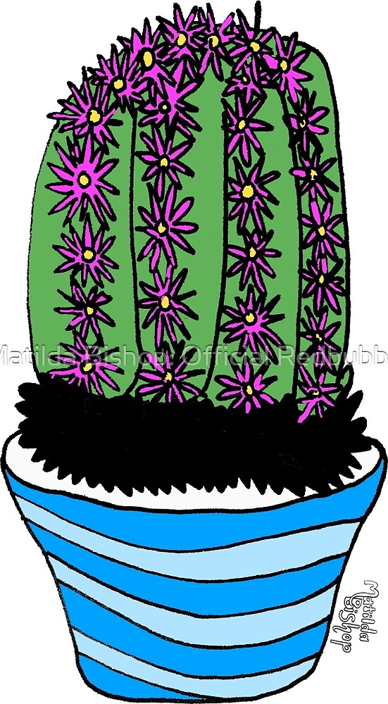 Cacti with Pink Flowers by Matilda Bishop Art: Official Redbubble