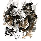 Japanese sword martial arts, two samurai art print by Mariusz Szmerdt