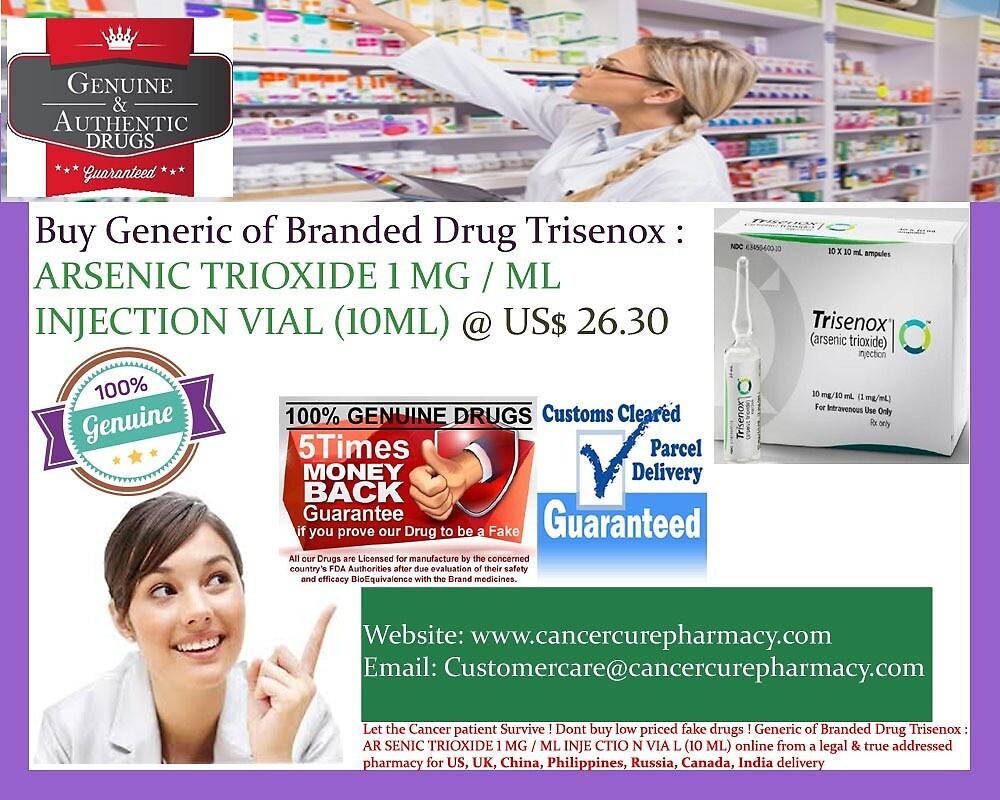 Generic of Branded Drug Trisenox : ARSENIC TRIOXIDE 1 MG / ML INJECTION VIAL (10ML) @ US$ 26.30 by DrugstoreIndia