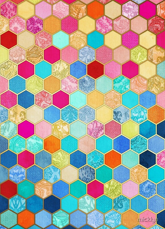 Quot Patterned Honeycomb Patchwork In Jewel Colors Quot By Micklyn