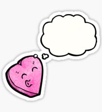 cartoon love heart with thought bubble Sticker