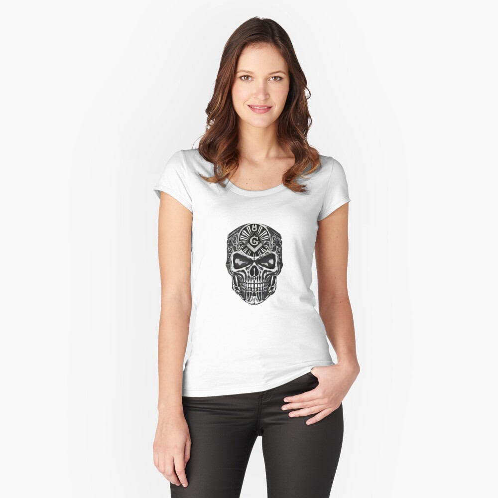 SYMBOLS OF MASONRY Women's Fitted Scoop T-Shirt Front