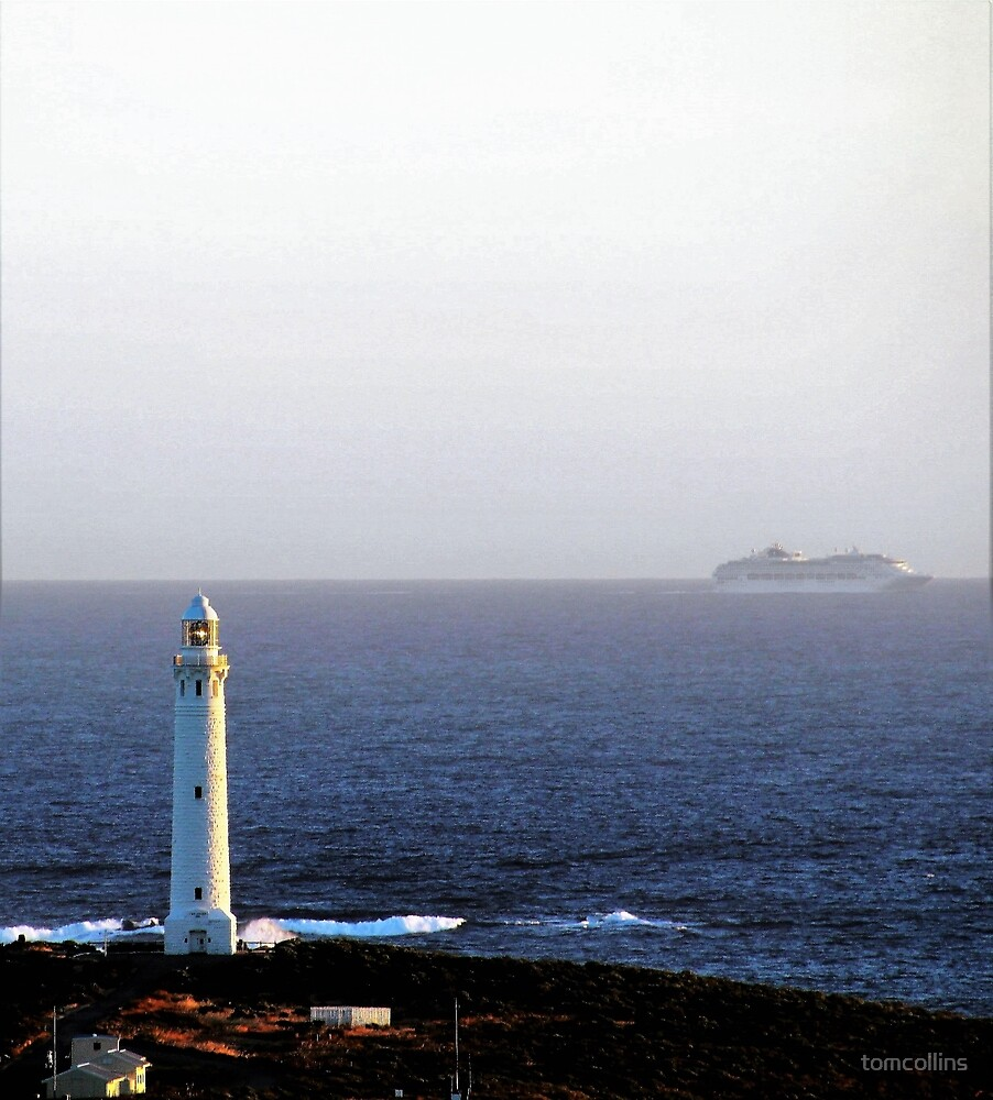 Cruise ship off Cape Leeuwin  by tomcollins